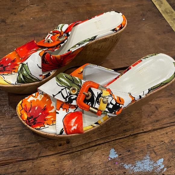 Stuart Weitzman Tropical Jaquard wedge sandals